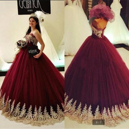 Discount long maternity ball gowns - Burgundy Sweet 16 Quinceanera Dresses 2018 New Design Apricot Ball Gowns Quinceanera Dresses Long Princess Beaded Prom G