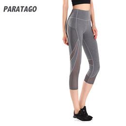 $enCountryForm.capitalKeyWord Canada - PARATAGO Hot Sale Women Yoga Leggings Mesh Splice Sports Cropped Pants Quick Dry Gym Running Fitness Tights Yoga Pants PB809