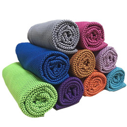 $enCountryForm.capitalKeyWord NZ - Ice Cool Towel Double Layer Magic Cooling Towel Summer Sunstroke Soft Breathable Towel For Sports Gym Fitness 10 Colors 90*35CM PYP