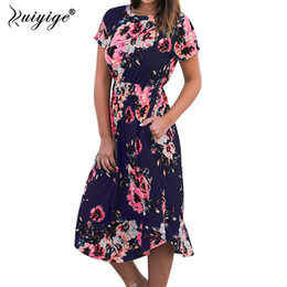 2e9c338528 Ruiyige 2018 Women Floral Print Boho Long Dresses Sexy Summer Maxi Beach Tunic  Dress Holiday Short Sleeve Pocket O-neck Vestidos Y1891104