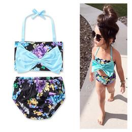 Wholesale rise swimwear online – Baby Girls Blue Split Rose Floral Halter Hanging Neck Two Swimsuits Children s Swimwear Big Bow Bra Tops Flowers Briefs