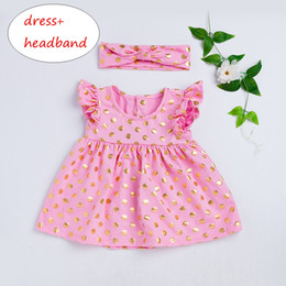 Wholesale Girls Gold Polka Dot Dress Set Kids Ruffles Dress Headband Outfit Kids Girls Sleeveless Clothes T