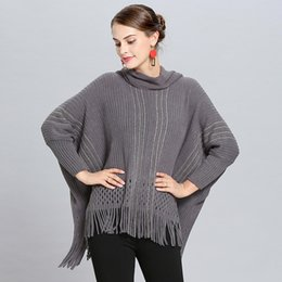 Wholesale cashmere ponchos capes resale online - LaMaxPa Autumn Winter New Fashion Women Warm Solid Knitted Vintage Oversize Cashmere Shawls Wraps Cape Femme Coat Poncho