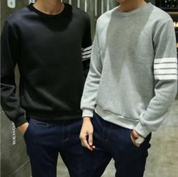 $enCountryForm.capitalKeyWord NZ - Men Casual Hoodies Hip Hop O Neck Long Sleeve Pullover Sweatshirts Striped Uniform Winter Autumn Japanese Style Blue Gray Black L-2XL
