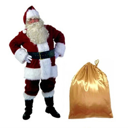 Santa Claus Suits UK - A Full Set Of Christmas Santa Claus Costumes Hat For Adults Blue Red Christmas Clothes Santa Claus Costume Luxury Suit