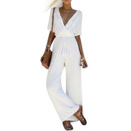 acf2b42fe18b Elegant White Long Sleeves Jumpsuits Canada - Women Jumpsuit Rompers Summer  Short Sleeve Deep V-