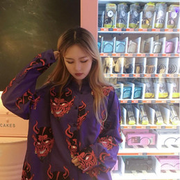 Japanese Dresses Canada - Korean version of ulzzang spring and summer female Harajuku BF wind demon print Japanese loose shirt dress sunscreen shirt tide
