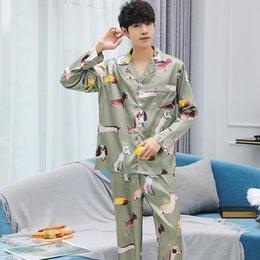 32715bd21f41 Yellow silk pajamas online shopping - Men Pajamas Long sleeved Autumn  Winter Male Silk Set Men