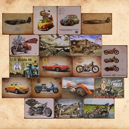 Wholesale bus bars for sale - Group buy 20 Styles Retro Car Bus Aircraft motorcycle Plaque Wall Decor for Bar Pub Home Vintage Metal Poster Plate Metal Signs Painting cm