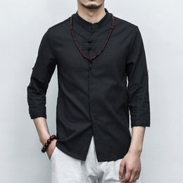 $enCountryForm.capitalKeyWord NZ - Chinese Style Men Shirt Brand New Slim Fit Stand Collar Social Male Shirts 3 4 Sleeve Solid Vintage Pan Kou Linen Blouse Homme