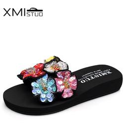 d8b9493ab60c0b Discount black booties women XMISTUO Summer Sandals Slippers for Women  Fashion Flower Upper Sandals Outside 3CM