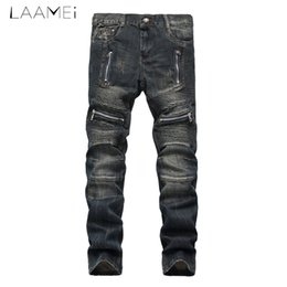 China Laamei male's Hole Motor Vehicle Fashion Straight Jeans Vintage Style Slim Lightweight Patchwork Pants Plus Size Trousers 2018 cheap vehicle s suppliers