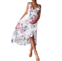 Опт 2018 Summmer материнства платье мода беременность одежда мать одежда V-образным вырезом без рукавов цветочные Falbala беременных женщин платье