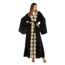 $enCountryForm.capitalKeyWord UK - Islamic Women Open Long Caridan Muslim Every Day Wear High-end Material Abaya Kimono Black Dubai Abaya with Bell Sleeve