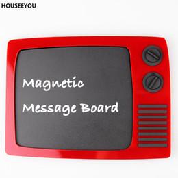 Memo Magnet NZ - Retro TV Type Fridge Magnets Plastics Memo Chalk Board for Writing Message Erasable Vintage Refrigerator Magnet Home Decorations