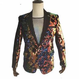 $enCountryForm.capitalKeyWord NZ - Hot Sale Latest Men Shining Sequins Jacket Long Short Style Slim Sequinned Coat Tide Male Nightclub Stage Costume Singer Concert Clothing