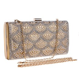a35c3fcdb7 New Girl s Pearl Diamond-studded Evening Bag Evening Bag Women s Rhinestone  Day Clutch Female Wedding Party Bags Chain Handbag