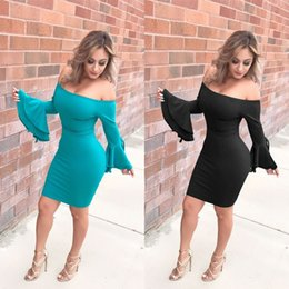 off shoulder spandex dress Australia - Club Dress 2018 Summer Party Dress Multiway Bodycon Dress F562 Off Shoulder Long Flare Bell Sleeve