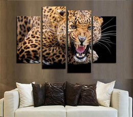 Discount painting paper wholesale - High Quality Restaurant Living Room Porch Spray Painting Oil Paintings Quadruple Leopard Home Decor Wall Art 1 6nj gg
