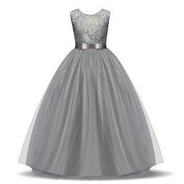 Toptan satış Toptan Scoop Dantel Çiçek Kız 'Elbiseler Kat Uzunluk Kızlar Pageant elbise Kolsuz Kız Communion Elbise 2018