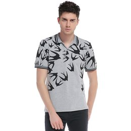 swallows shirt UK - 2018 summer men's polo shirt new European and American style swallows print lapel short sleeve large size T-shirt S--2XL
