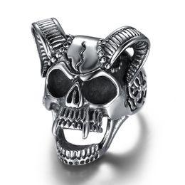Goat rinGs online shopping - 316L Stainless Steel Animal Goat Head Skull Ring Big Sheep Head Sketeton Vintage Finger Ring Male Fashion Jewelry