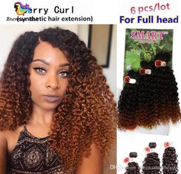 Smart Hair Australia - Free shipping Smart easy install synthetic weft hair ombre color Jerry curl crochet hair extensions crochet braids hair weaves marley twist