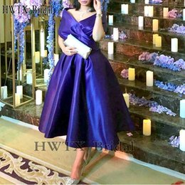 $enCountryForm.capitalKeyWord NZ - Royal Blue Tea Length Mother Of The Bride Dresses Plus Size Elegant Off Shoulder Satin Arabic Cheap 2018 Prom Party Formal Gowns