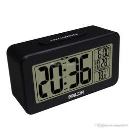 Lighting Calendar NZ - Brand New Baldr Student Alarm Clocks Light Sensor Calendar Function and Temperature Display Smart White Backlight