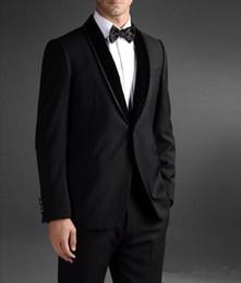 New Stylish Suit Three Piece Canada - New Stylish Design Groom Tuxedos One Button Black Shawl Lapel Groomsmen Best Man Suit Mens Wedding Suits (Jacket+Pants+Tie) 598