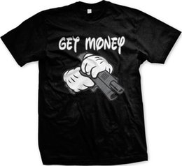 Wholesale Get Money Cartoon Hands Pistol Gangster Gun Funny Mens T shirtFunny Unisex Casual tee gift