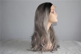 Wig Grey Australia - Black Ombre Grey Wigs High Temperature Fiber 24 Inch 280g Full Head big Wave Long Nuatral Wave Gray Synthetic Wig