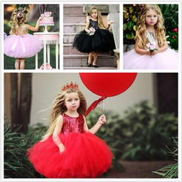 baby kids frocks wholesale UK - 50pcs Children princess dress Baby Girl Sequined Backless Party Tutu Dresses Kids Lace Tutu Frock dress Y220