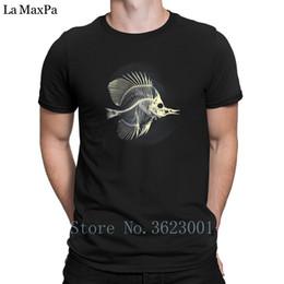 Créatif Unique Tee Shirt Homme Poisson Squelette T-Shirt Hiphop Top 100% Coton T Shirt Homme Génial Tee Shirt Summer Style Casual en Solde