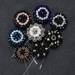 stick pin for suit UK - Classical lapel pin brooches crystal rhinestone beads made long stick brooch for gentalmen suit dress in wedding evening parties fashion pin