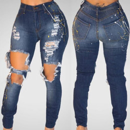 $enCountryForm.capitalKeyWord Canada - Will Holes Bound Feet female silver denim Jeans clothes for women harem pants Women's Paint Point Technology suspenders printed