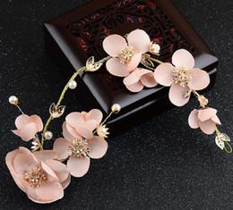 Pink heart stick online shopping - Bridal accessories wedding dress accessories Korean Hua Xianzi pink headwear hair belt head flower handmade hair accessories