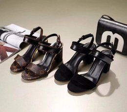 Shoes Metal Print Australia - xiuchun852 Buckle Quality Women Letter printing Metal Top High Heel Shoes Cowhide leather WORDPLAY sandals 1A3UTX With Box