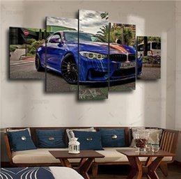 $enCountryForm.capitalKeyWord NZ - Home Wall Art Decor Frame Pictures Art HD Modern 5 Panel Scenery BMW Painting Printed On Canvas Blue Sports Car Poster