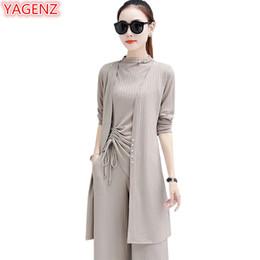$enCountryForm.capitalKeyWord NZ - YAGENZ Plus size 5XL 3 Piece Set Casual Women Clothes Spring Autumn Wide leg pants Loose Long Top Fashion Ankle-Length Pants 928