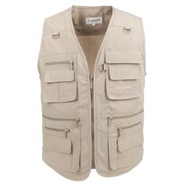 Photography Vests Man Cotton Casual Wasitcoat For Men Vest With Many Pockets Summer For Men Zipper Regular Men's Sweatshirts