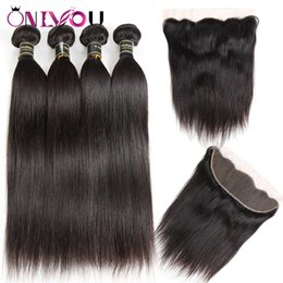 Cheap weave frontal online shopping - 9a Grade Peruvian Human Hair Weave Bundles with Frontal Cheap Brazilian Straight Virgin Hair Extensions Raw Indian Hair Wefts with Closure