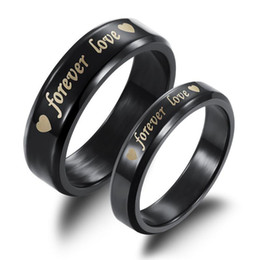 forever love steel ring NZ - Forever Love Black Titanium Steel Couple Rings Wholesale Cheap Solid Ring For Men Women Valentine's Day Gift