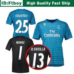 18 19 Courtois 25 real madrid Jerseys de portero en casa lejos 2018 2019 real  madrid navas K.CASILLA luca Camisetas de fútbol de portero e053bb0fd7d6b