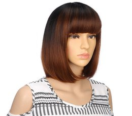 girl short hair bangs UK - Free shipping>>>new Hot Sell!!! Fashion Girls Synthetic Short straight Bob Style Brown Hair Wig with Bang