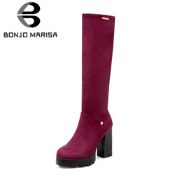 high heels big platform NZ - BONJOMARISA 2018 Winter Big Size 33-43 Elegant Flock Platform Knee High Boots Women High Heels Fur Boots Platform Shoes Woman