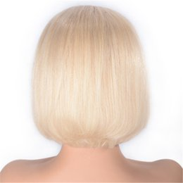 cambodian hair lace wigs Canada - Cambodian Straight Lace Front Wigs Middle Part Free Part 613 Blonde Human Hair Full Lace Wigs Glueless Bob Wig