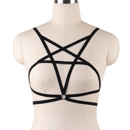 Discount nylon cage - Sexy Star Shaped Bandage BeltCrop Top Bra Hollow Cage Bra Women Sexy Lingerie Push Up Bralette Bustier