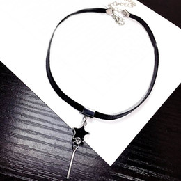 Korean New Simple Star Tassel Necklaces   Pendants For Women Accessories  Summer Faux Leather Choker Necklace Femme Bijoux f38a8c818448