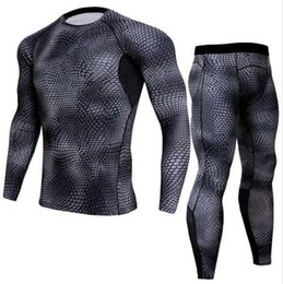 Wholesale men thermal underwear set resale online - Men Pro Quick Dry Compression Long Johns Fitness Winter Gymming Male Spring Autumn Sporting Runs Workout Thermal Underwear Sets